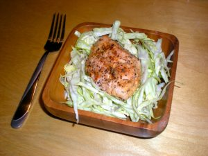 Healthy recipe grilled chicken on coleslaw