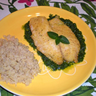 Crusted Tilapia with Mint Spill