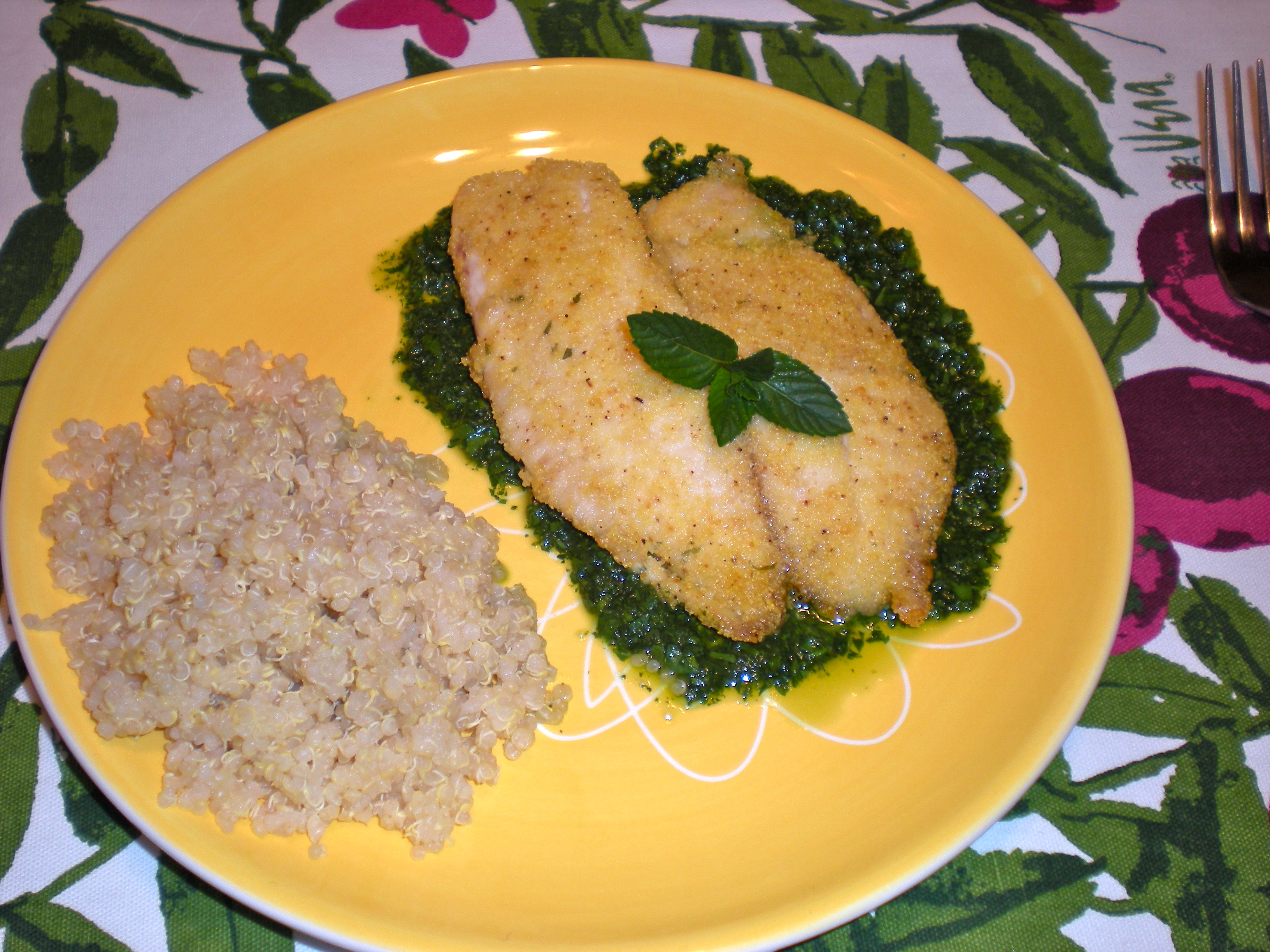 Crusted Tilapia with a Mint Spill